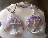 Amethyst Tree of Life pendant - purple quartz crystal stone natural chip beads crystal - circle bead or made to order necklace silver H13FF