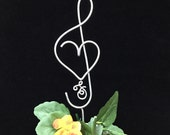 Treble Clef Music Note and Musical  Heart Wedding Cake topper Personalized with last name initial  Music Lover