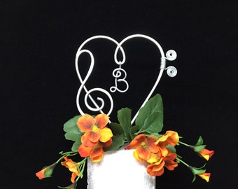 Music note cake topper treble and base design