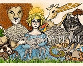 All Creatures, Great and Small, print of the 3rd in my angel series of pen and inks