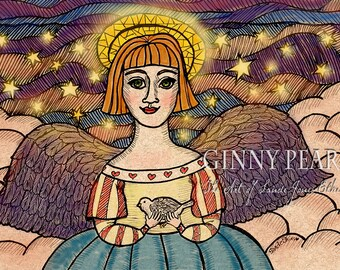 Spirit of Peace, 5th in my series of pen and ink Angels