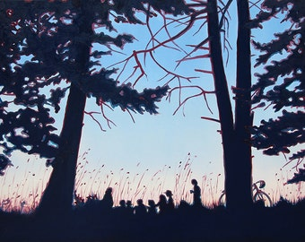 GICLEE Fine Art Reproduction by Daina Scarola on fine art paper - Mid-Summer's Eve Potluck