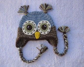 Blue owl hat made to order in any size - newborn to adult x large.
