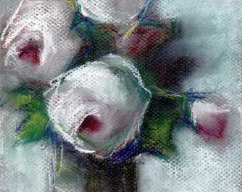"Pastel Drawing Original - ""Beach Pinks"" - from my Original Floral Still Life - Pastel on Paper, 6 3/8"" x 7 1/2"""