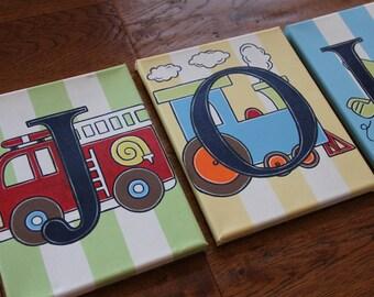 "8"" x 10"" Custom Personalized Name Wall Letter Backseat Driver Transportation Train Car Canvas Art Boys Bedding Room Decor (price per letter)"