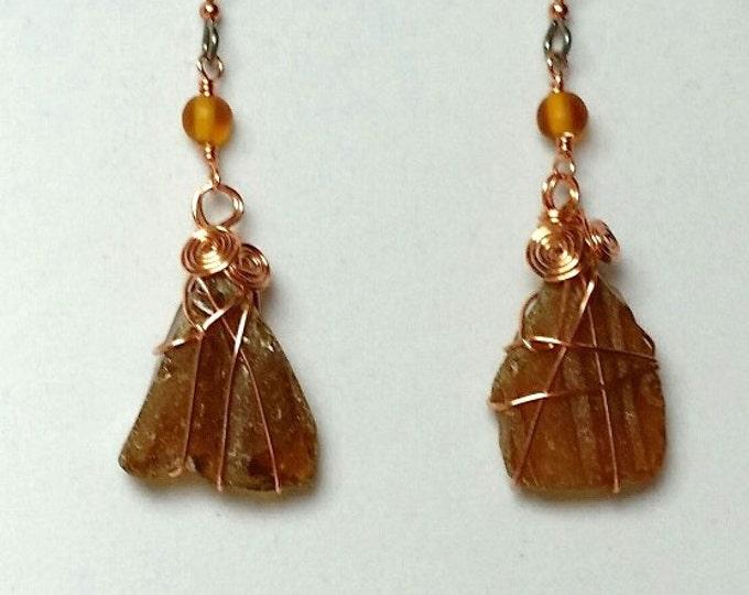 Amber Wire Wrapped Beach Glass Earrings