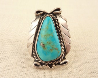 Size 6.5 Vintage Sterling and Natural Cut Turquoise Native American Style Ring
