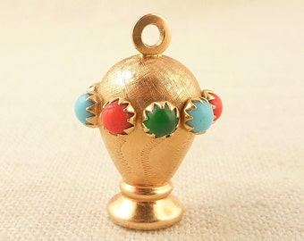 Vintage 18K Gold Textured Urn Charm with Colorful Glass Beads