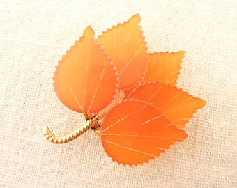 SALE ----- Vintage Gold Plated Brooch of Russian Baltic Amber Carved Leaves