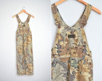 vintage girl's '90s CAMO LEAF OVERALLS. size youth 14 / women's xxs.