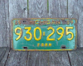 Michigan Farm License Plate 1959
