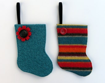 Rescued Wool Stocking Ornament - Set of Two Mini Stockings - Gift Card Holder