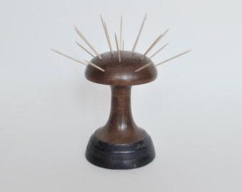 Mid Century Wood Toothpick Holder Mushroom Shape - Atomic