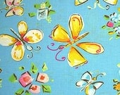 COUPON Sale - Free Spirit, Dena Designs, Tiddlywinks, Butterflies, Blue, 100% Cotton Quilt Fabric, Quilting Fabric, SELECT A SIZE