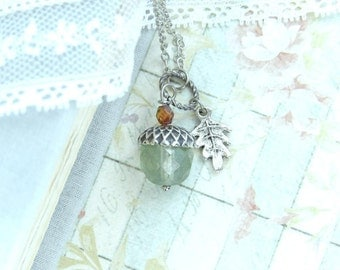 Green Acorn Necklace Fall Necklace Acorn Pendant Necklace Nature Necklace Autumn Jewelry Acorn Gift