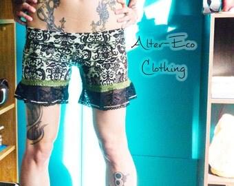 Damask Steampunk Ruffle SHORTS - Hippie Bohemian Gothic Grunge romper bottoms - S/M OOAK