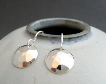 small silver hammered dome earrings. simple circle drop. sterling silver dangle. everyday modern classic simple minimalist jewelry. 1/2""