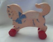 Vintage Baby Pull Toy Mid Century Adorable
