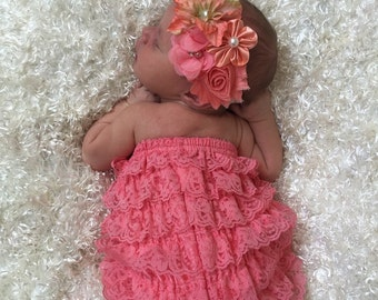 Shabby Floral Baby headband and Lace Romper Set..lace romper and shabby chic floral headbandHair bow and Diaper Cover...