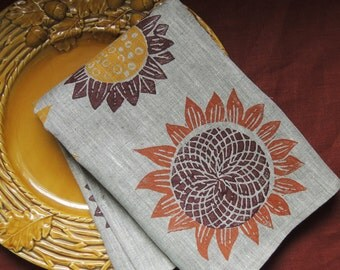 Harvest Sunflowers kitchen decor hand block printed linen napkins set of four