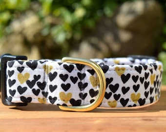 """Gold Hearts Dog Collar in White, Black and Gold, 3/4"""" or 1"""" wide in Extra Small, Small, Medium, Large, Extra Large or Custom Australian Made"""