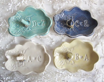 Holiday SALE. Best Bridal shower gift, ring holder gift, Bride to be gift, His and Hers monogram ring dish, Ceramic dish, Made to Order
