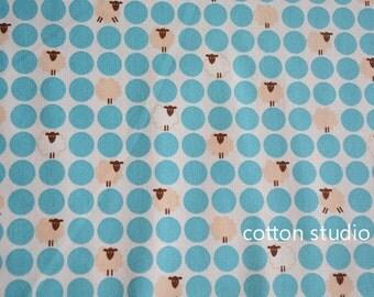 Japanese Fabric Kawaii Sheep Polka Dot Blue 1/2 Yard