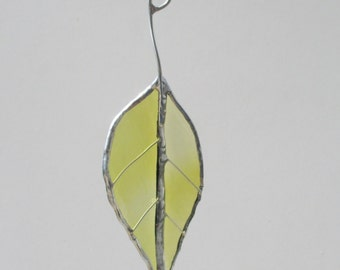 Green Beech Leaf - Upcycled Stained Glass Suncatcher