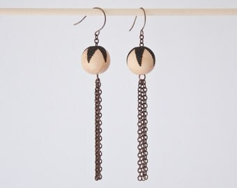 Ball and Chain - Large - Star Wood Burned Maple Bead Earrings