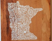 Screen print of Minnesota onto Reclaimed, Repurposed Wood; ready to hang