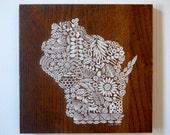 Screen print of Wisconsin onto Reclaimed, Repurposed Wood; Ready to Hang Original art