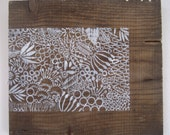 Reclaimed Repurposed Wood-Upcycled hand Printed wall art-ready to hang