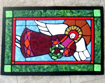 Christmas Art Quilt Wall Hanging Angel Applique Holiday Décor Large Red Green Gold