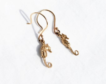 READY TO SHIP-Solid Gold Tiny Dangling Seahorse Earrings
