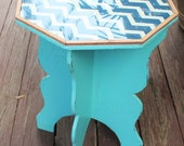 Painted Furniture Home and Garden Chevron Print End Table Plant Stand
