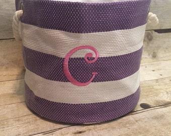 Pink, blue, black, purple stripe storage bucket, organization, personalized tote