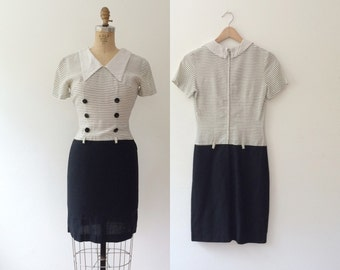 1960s dress / sailor mod dress / Cotton Harbor dress