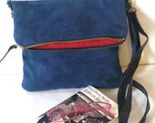 Crossbody Bags, Blue Faux Suede Handbags, Boho Purses in Blue, 70's Inspired Vegan Fashion