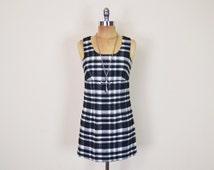 Vintage 90s Guess Black & White Tartan Plaid Dress Mini Dress Empire Waist Babydoll Dress Wool 90s Dress Grunge Dress Women 3 XS Extra Small