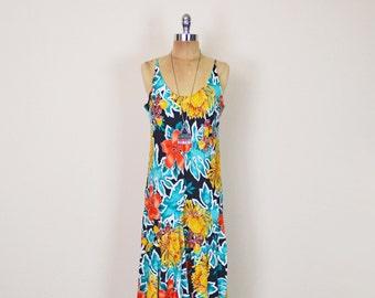 Vintage 80s 90s Black Hawaii Dress Tropical Floral Dress Floral Print Dress Midi Dress Sundress Sun Dress Ruffle Resort Dress Women M Medium