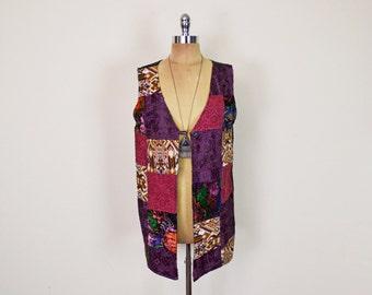 Vintage 90s 70s Ethnic India Floral Paisley Print Velvet Patchwork Vest Long Duster Jacket Top Boho Hippie Hippy Gypsy Festival Women S M L
