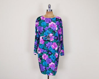 Vintage 80s 90s Floral Dress Floral Print Dress Mini Dress Slouchy Oversize Drape Tunic Dress Grunge Gypsy Boho Women PM P M Petite Medium