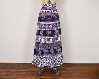 Vintage India Skirt India Maxi Skirt India Wrap Skirt 70s Hippie Skirt 70s Boho Skirt 70s Skirt Ethnic Skirt Brown Black XL XXL Extra Large