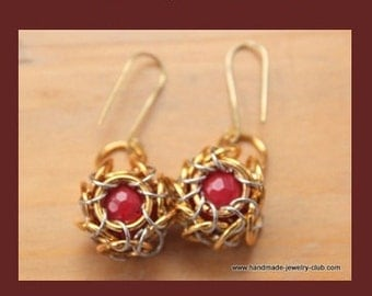 PDF Chainmaille Pattern Whirlybird Cabochon Earrings Tutorial T82