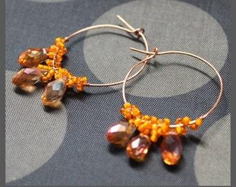 PDF Wire Work Pattern - Drops of Honey Hoop Earrings Jewelry Making Tutorial T169