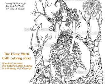 the forest witch fairy tangles printable coloring pages norma burnell witch owls fox halloween witches for - Fantasy Coloring Books For Adults