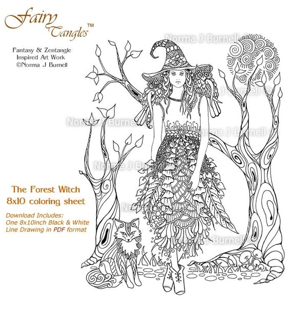 The Forest Witch 8x10 Fairy Tangles Printable Coloring Pages
