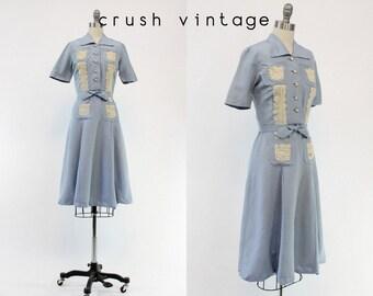 40s Lace Blue Dress XS / 1940s Vintage Jans Maid Of Honor Frock / The Keepsake Dress