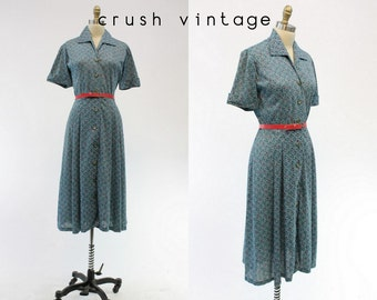 60s Teal Novelty Frock Medium / 1960s Button Down Belted Dress / The MaeRose Dress