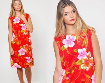 Vintage 60s HAWAIIAN Dress TROPICAL Floral Mini Dress TIKI Shift Dress Rockabilly Dress